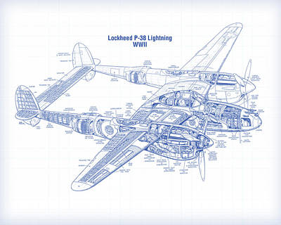 Digital Art - P-38 Ligtning by Gary Grayson