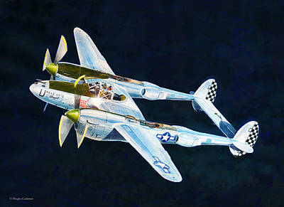 Painting - P-38l Lightning by Douglas Castleman