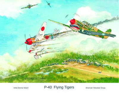 P-40 Flying Tigers Art Print by Dennis Vebert