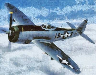 Plane Painting - P-47 Thunderbolt by Esoterica Art Agency