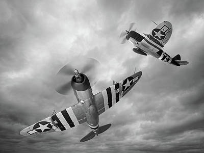 Photograph - P-47 Thunderbolts In Black And White by Gill Billington