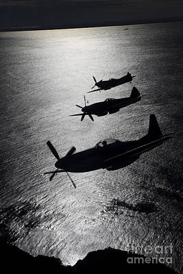 Flight Formation Photograph - P-51 Cavalier Mustang With Supermarine by Daniel Karlsson