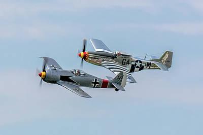 P-51 Fw-190 Rare Formation Art Print