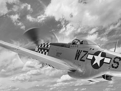 P-51 In The Clouds - Black And White Art Print by Gill Billington