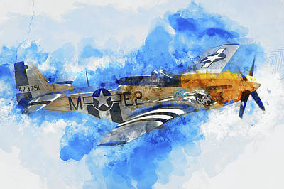 Painting - P-51 Mustang - 01 by Andrea Mazzocchetti