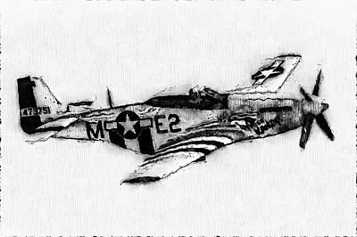 Digital Art - P-51 Mustang - 10 by Andrea Mazzocchetti