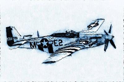 Digital Art - P-51 Mustang - 11 by Andrea Mazzocchetti