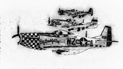 Digital Art - P-51 Mustang - 12 by Andrea Mazzocchetti