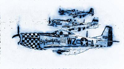 Digital Art - P-51 Mustang - 13 by Andrea Mazzocchetti
