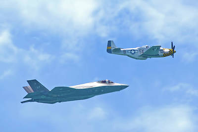 Photograph - P-51 Mustang And F-35 Joint Strike Fighter by Mark Andrew Thomas