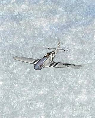 P51 Wall Art - Painting - P-51 Mustang Fighter by Esoterica Art Agency