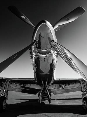Black And White Wall Art - Photograph - P-51 Mustang by John Hamlon