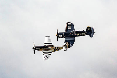 Photograph - P-51 Quick Siler And Vought F4u Corsair  by Jack R Perry