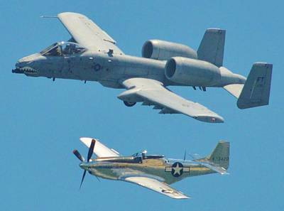 Photograph - P 51d Mustang And A10 Warthog Tank Killer by William Bartholomew