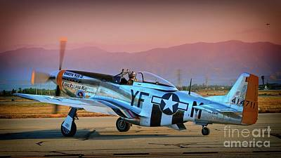 Photograph - P-51d Mustang 'dakota Kid II. The Long Island Kid' And Casey Odegaard by Gus McCrea
