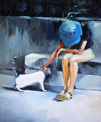 P In Genoa  With A Cat Original by Tony Belobrajdic