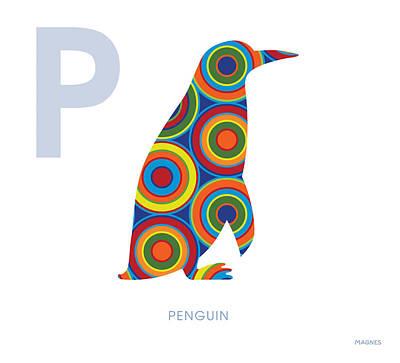 Penguin Digital Art - P Is For Penguin by Ron Magnes