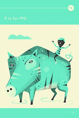 Pig Wall Art - Digital Art - P Is For Pig by Jazzberry Blue