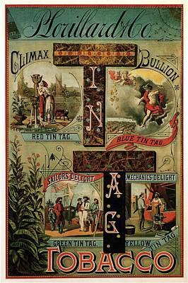 Mixed Media Royalty Free Images - P. Lorillard and co - Climax Bullion - Vintage Tobacco Advertising Poster Royalty-Free Image by Studio Grafiikka