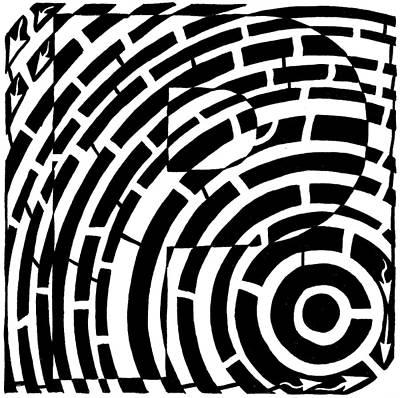 Frimer Drawing - P Maze by Yonatan Frimer Maze Artist