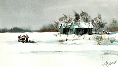 Winter's Farm Chill Art Print by Art Scholz