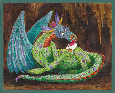Painting - Dragons Love Ice Cream by Charles Cater