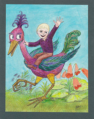 Drawing - P3 Bird Boy by Charles Cater
