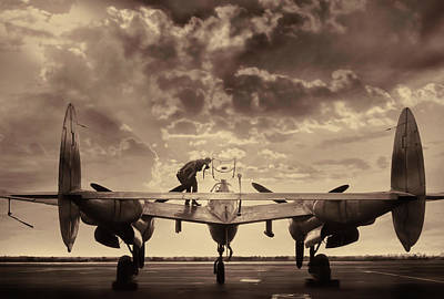 Lightning Photograph - P38 Sunset Mission V2 by Peter Chilelli