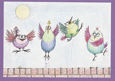 Drawing - P4  Four Birds Celebrate by Charles Cater