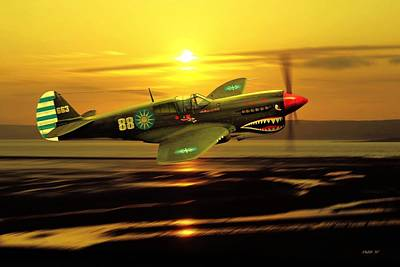 Digital Art - P40 Warhawk Ww2 Us Aviation Art by John Wills