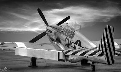 Photograph - P51-b Mustang, Black And White by Philip Rispin