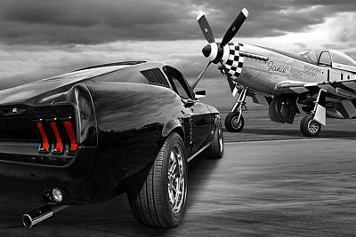 Photograph - P51 With Black '67 Fastback Mustang by Gill Billington