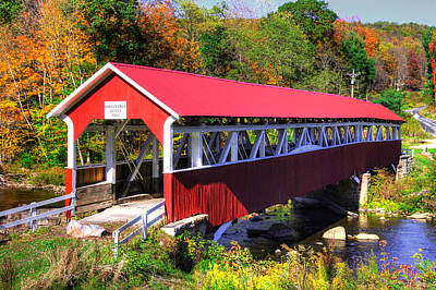 Photograph - Pa Country Roads - Barronvale Covered Bridge Over Laurel Hill Creek - Autumn, Somerset County by Michael Mazaika