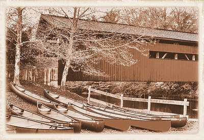 Photograph - Pa Country Roads - Bowmansdale-stoner Covered Bridge Over Yellow Breeches Creek - Sepia by Michael Mazaika