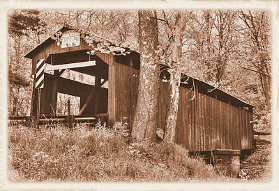 Photograph - Pa Country Roads - Esther Furnace Covered Bridge Over Roaring Creek No. 6as-alt - Columbia County by Michael Mazaika