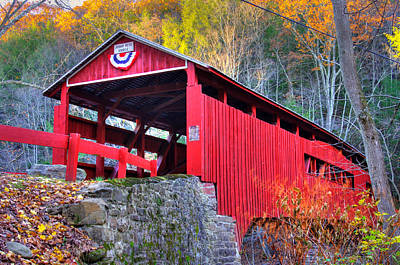 Photograph - Pa Country Roads - Josiah Hess Covered Bridge Over Huntington Creek No. 13 - Columbia County by Michael Mazaika
