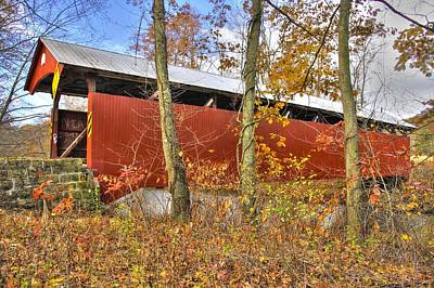 Of Augusta National Photograph - Pa Country Roads - Keefers Station Covered Bridge Over Shamokin Creek No. 5a - Northumberland County by Michael Mazaika
