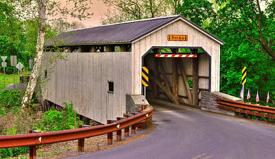 Photograph - Pa Country Roads - Kellers Mill Covered Bridge Over Cocalico Creek No. 3 - Lancaster County by Michael Mazaika