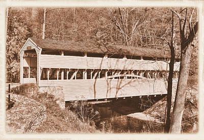 Photograph - Pa Country Roads - Knox Covered Bridge Over Valley Creek No. 2as - Valley Forge Park Chester County by Michael Mazaika