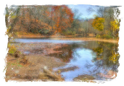 Photograph - Pa Country Roads - Neshaminy Creek Near Schofield Ford Covered Bridge - Autumn Bucks County by Michael Mazaika