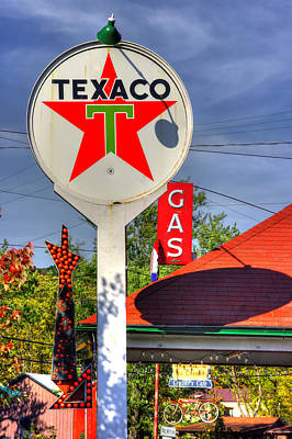 Photograph - Pa Country Roads - Petroasis At The Big Bright Star No. 5 - Cruiser's Cafe - Mt. Pleasant Mills by Michael Mazaika