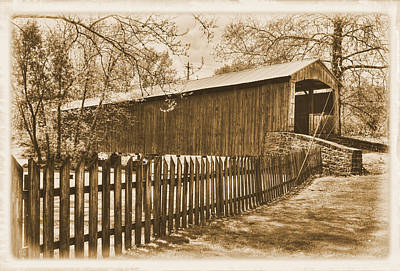 Photograph - Pa Country Roads - Red Run Covered Bridge Near Muddy Creek No. 4a Sepia - Lancaster County by Michael Mazaika