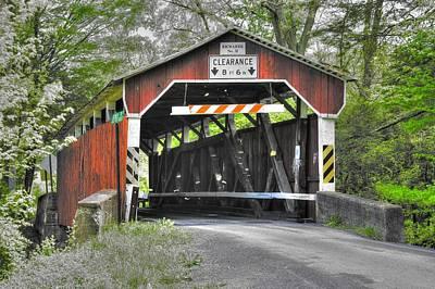 Pa Country Roads - Richards Covered Bridge Over Roaring Creek No. 1b-alt - Columbia County Art Print