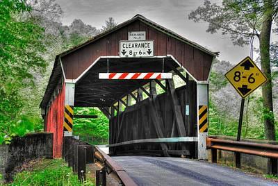 Pa Country Roads - Richards Covered Bridge Over Roaring Creek No. 6b-alt - Columbia County Art Print