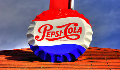Photograph - Pa Country Roads - Roof Top Pop - Vintage Pepsi Bottle Cap Sign - Cruiser's Cafe Mt. Pleasant Mills by Michael Mazaika