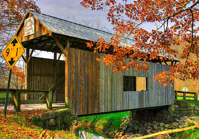 Photograph - Pa Country Roads - Scott Covered Bridge Over Ten-mile Creek No. 1 - Greene County by Michael Mazaika