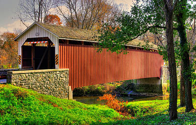 Photograph - Pa Country Roads - Siegrists Mill Covered Bridge Over Big Chiques Creek No. 2 - Lancaster County by Michael Mazaika
