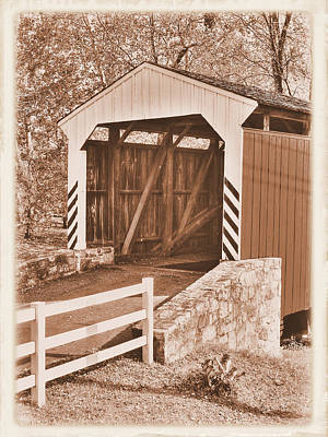 Photograph - Pa Country Roads - Willow Hill Covered Bridge Over Miller's Run #4s Close - Lancaster County by Michael Mazaika