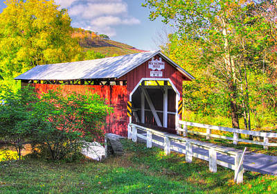 Photograph - Pa Covered Bridges - New Baltimore Covered Bridge Over Raystown Branch Of Juniata River No. 5b  by Michael Mazaika