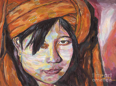 Painting - Pa O Tribal Girl by Michael Cinnamond